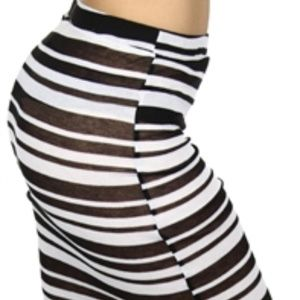 Womens Black and White long stripe Maxi Skirt